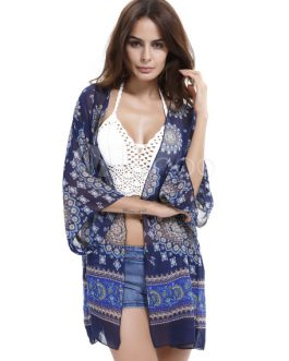 Chiffon Printed Kimono Women's Open Front Bikini Cover Up