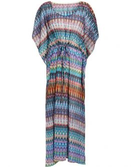 Chiffon V Neck Half Sleeve Printed Beachwear Cover Up