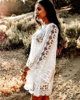 Cover Up Dress Lace Sheer Long Sleeve V Neck Women Beach Bathing Suit