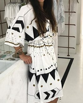 Cover Up Long Sleeve Drawstring Geometric Print Beachwear For Women