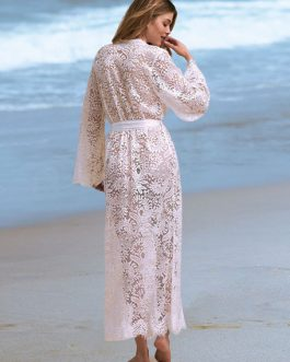 Cover Up Swimwear Lace Wrap Sheer Split Long Sleeve Bathing Suit