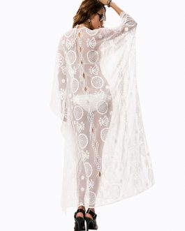 Cover Up V Neck Long Sleeve Lace Beachwear For Women