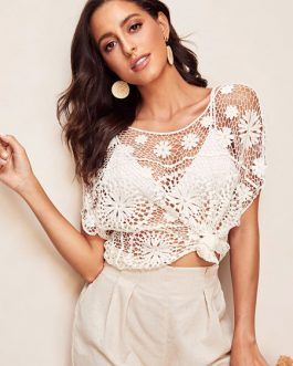 Cover Up Women Lace Short Slevee Sheer Beachwear