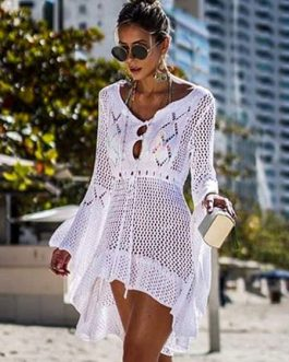 Crochet Cover Up Dress Women V Neck Long Sleeve Sheer Beach Dress