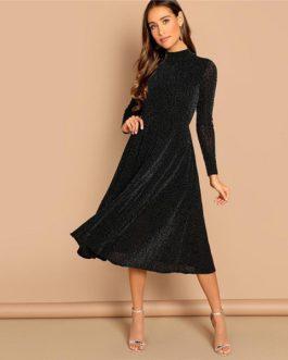 Elegant Plain Stand Collar Long Sleeve Glitter Party Dresses