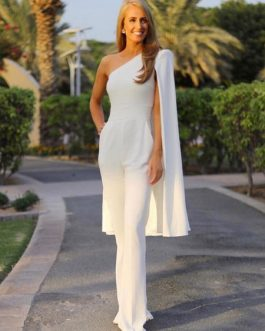 Evening Cape Shoulder Long Sleeve Asymmetrical Jumpsuit