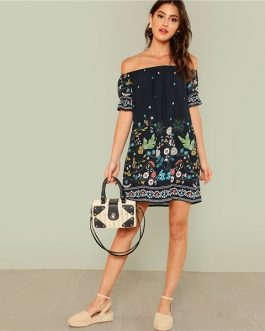 Floral Boho Off the Shoulder  Tribal Print Bardot Half Sleeve Ruffle Dress