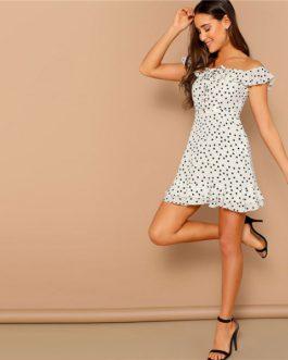 Flounce Layered Neck Lace-Up Dot Print Short A-Line Casual Dress