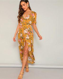 Flower Print Surplice Wrap Maxi Boho V-Neck Shift Split Dress