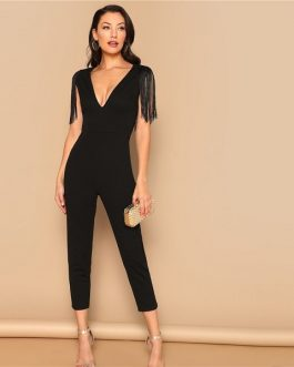 Fringe Fitted Skinny Women Maxi Deep V Neck Jumpsuit