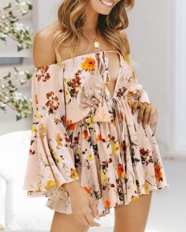 Girl Off Shoulder Sexy Beach Party Casual Lace Up Romper