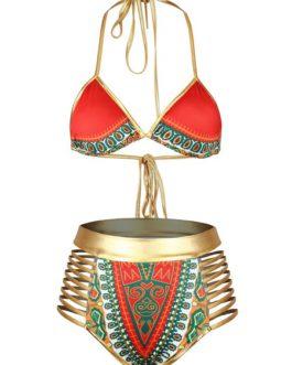 India Style Sexy Bikinis Halter High Waist Print Swimsuits For Women