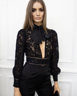 Lace Backless Cut Out Bow Tie Long Sleeve Sexy Going Out Wear