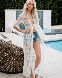 Lace Cover Up Sheer Long Sleeve Women Beach Bathing Suit Maxi Dress