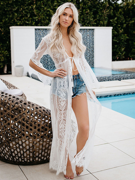 Lace Cover Up Sheer Long Sleeve Women Beach Bathing Suit