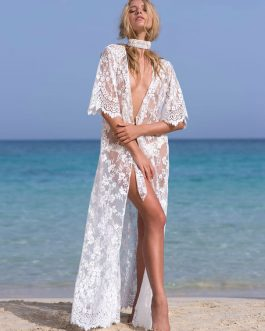 Lace Cover Up Sheer Sexy Beach Bathing Suit Half Sleeve Women Maxi Dress