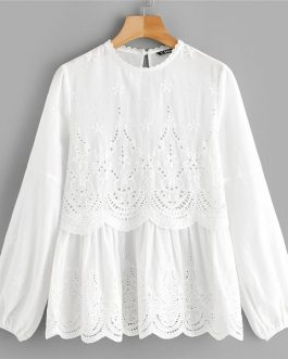 Embroidery Long Sleeve Laser Cut Insert Scalloped Peplum Blouse