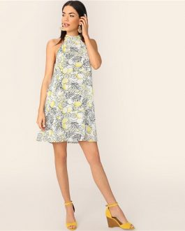 Lemon Print Trapeze Halter Short Women Elegant Casual Dresses