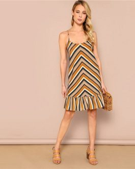 Bohemian Ruffle Hem Sleeveless Spaghetti Strap Chevron Cami Short Dress