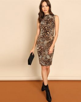 Multicolor Modern Lady Leopard Print Women Workwear Dresses