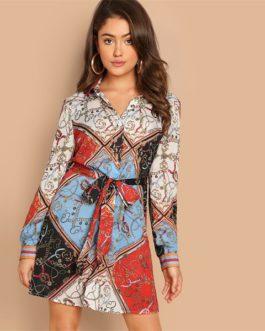 Multicolor Collar Scarf Print Self Belted Shift Short Dressh