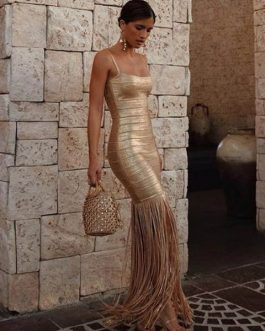 New Maxi Tassels Women Bandage Vestidos Sexy Club Evening Party Dress