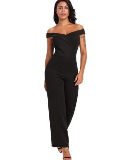 Off The Shoulder Jumpsuit Women Black Wide Leg Jumpsuit