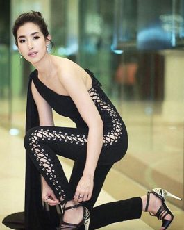 One Shoulder Train Lace Up Sleeveless Skinny Jumpsuit