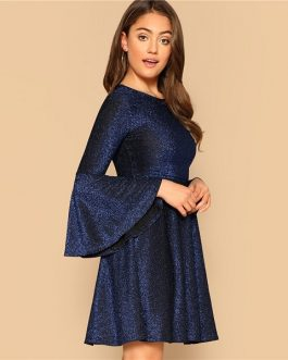 Plain Highstreet Trumpet Glitter Party Short Dress