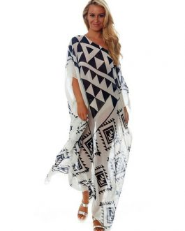 Plus Size Cover Up Dress Chiffon Print Half Sleeve One Shoulder Beach Dress