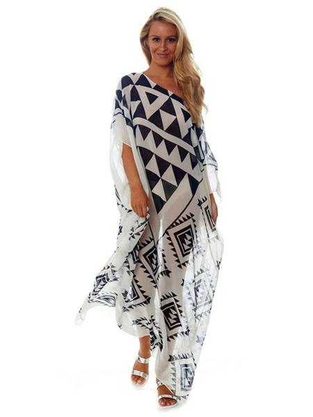 Plus Size Cover Up Dress Chiffon Print Half Sleeve One Shoulder Beach Dress