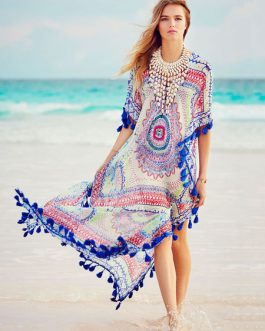 Plus Size Cover Ups Women Tassel Printed Beach Bathing Suit