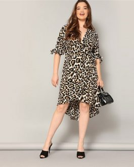 Plus Size High Low Hem Leopard Print Midi Women Summer Dress