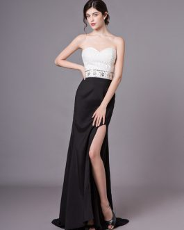 Prom Dresses Strapless Beading High Split Sexy Formal Evening Dress