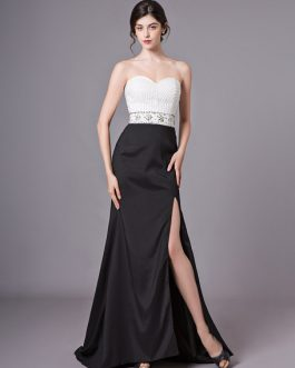 Prom Dresses Strapless Beading High Split Sexy Formal Evening Dress