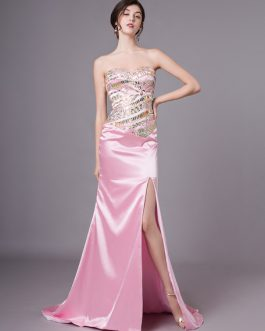 Prom Dresses Strapless Beading Rhinestones Sexy High Split Formal Evening Dress