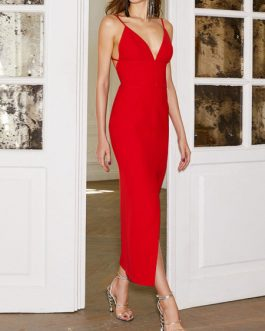 Red Party Dress Sleeveless Straps Backless Shaping Sexy Maxi Dress