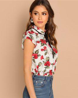 Ruffle Floral Elegant Pullover Women Minimalist Blouse