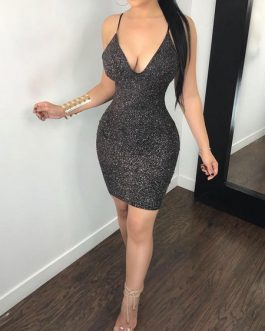 Sexy Club Dress Black V Neck Backless Cut Out Shaping Mini Dress