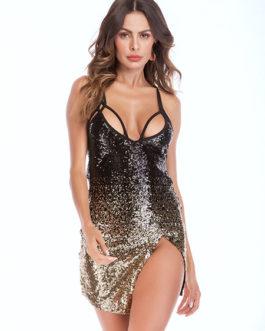 Sexy Club Dress Straps Sequins Glitter Slit Mini Dress