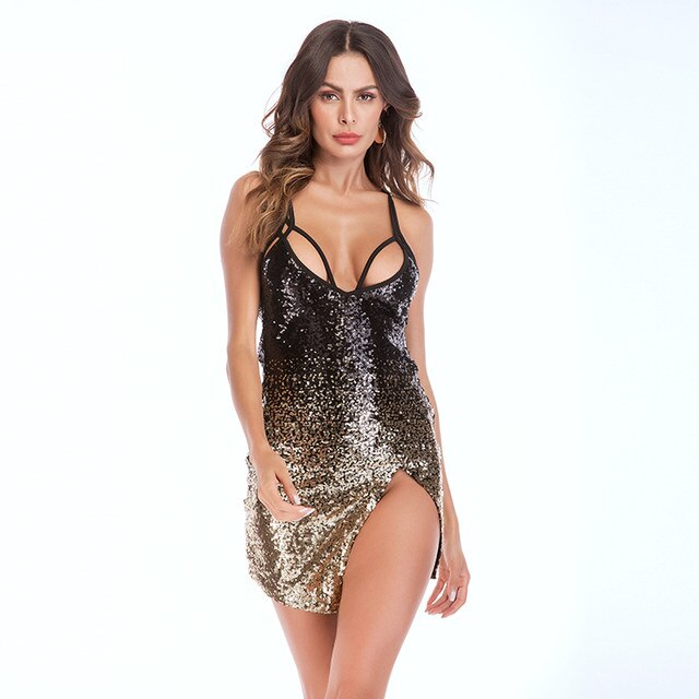 4a31e0941d05 Sexy Club Dress Straps Sequins Glitter Slit Mini Dress - Power Day Sale