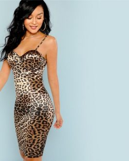 Sexy Club Leopard Print Skinny Autumn Party Short Dresses