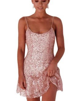 Sexy Club Sequin Backless Bodycon Dress Glitter Going Out Dresses