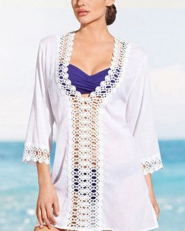 Sexy Cover Up Long Sleeve Cut Out Plunging Beachwear