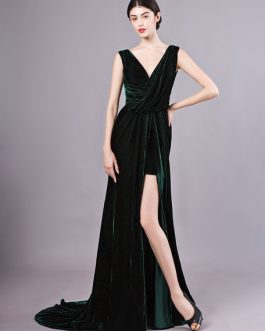 Sexy Evening Velvet Dark Green Long Prom Dress With Train
