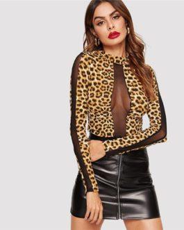 Sexy Mesh Insert Leopard Print Spring Club Casual T-shirt