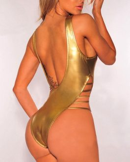 Sexy Monokini Swimsuit V Neck Strappy Glitter Women Beachwear