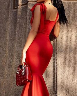 Sexy Red Party Off The Shoulder Mermaid Dress