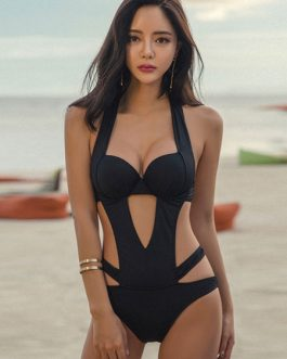 Sexy Swimsuit Women Halter Cut Out Backless Swim Bathing Suit