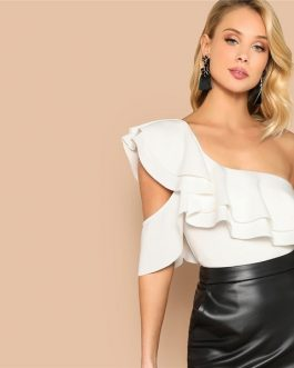 Sexy White Layered Ruffle Bodysuit Women Summer